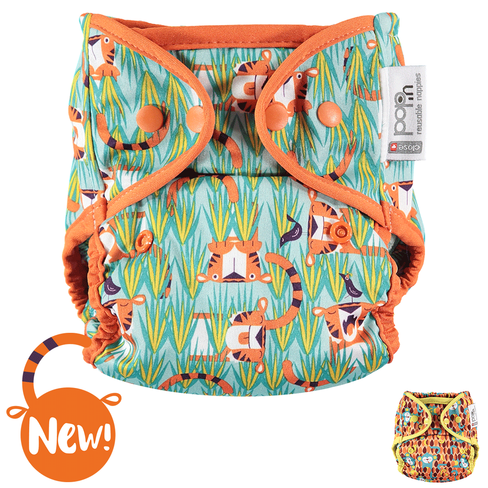 Close Pop-in Single Printed Reusable POPPER Nappy +bamboo