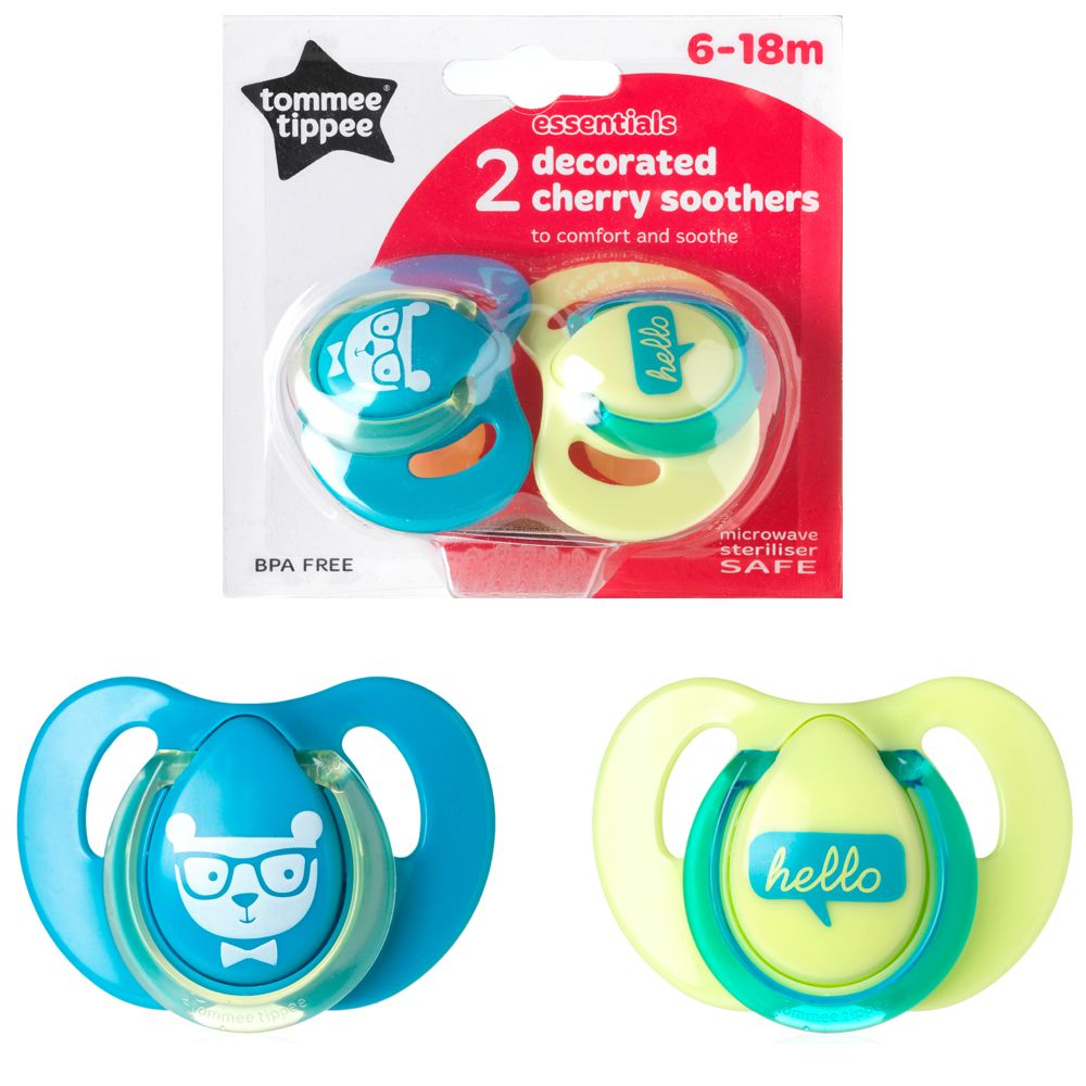 Tommee Tippee Essentials Decorated Cherry Soothers 6-18mths (2pk) - SALE